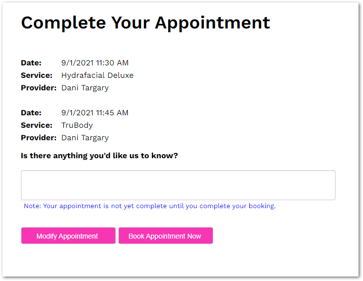 complete your appointment