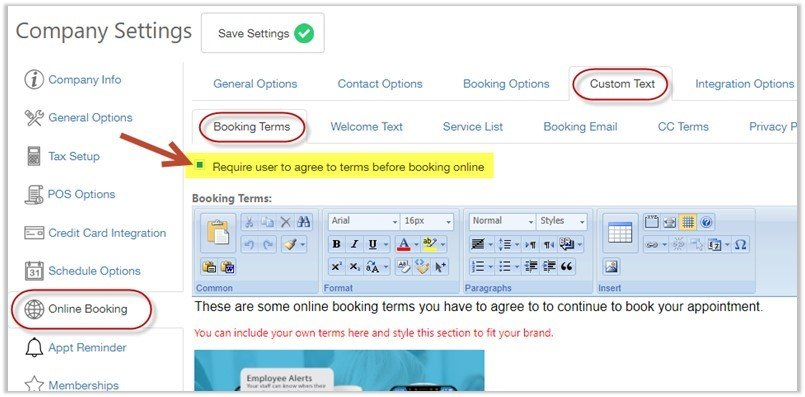 online booking terms